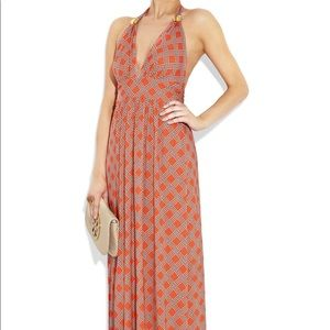 Milly Orange Rope Print Stretch Jersey Maxi Dress